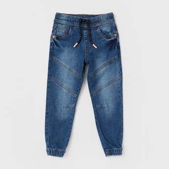 Solid Denim Joggers with Drawstring Closure and Panelled Detailing