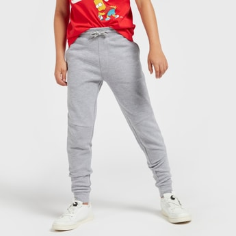 Textured Mid-Rise Full Length Joggers with Drawstring Closure and Pockets