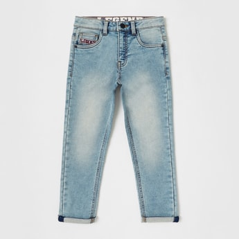 Solid Full Length Jeans with Button Closure and Pockets