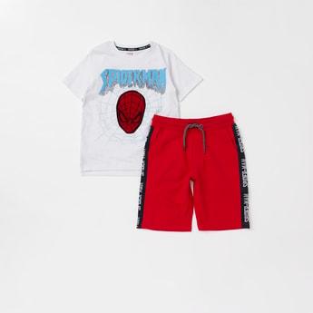 Spider-Man Printed T-shirt and Tape Detail Shorts Set