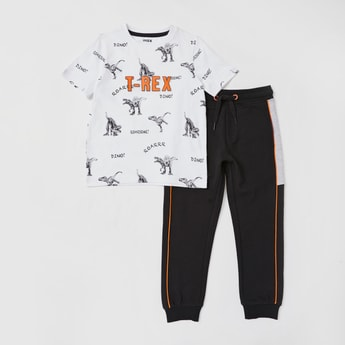 T-Rex Printed T-shirt and Jog Pants Set