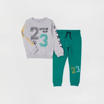 Graphic Print Sweatshirt and Jog Pants Set