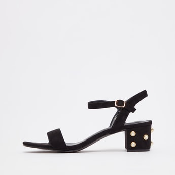 Embellished Sandals with Block Heels and Pin Buckle Closure