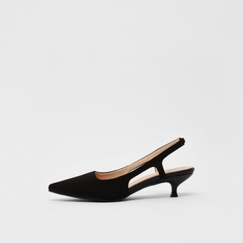 Textured Slingback Shoes with Kitten Heels