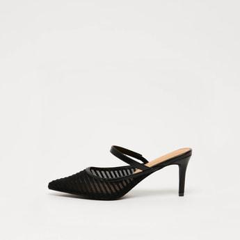 Textured Slip-On Mules with Stiletto Heels