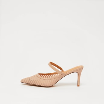 Textured Slip-On Mules with Stiletto Heels