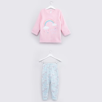 Cozy Collection Printed Round Neck T-shirt and Jog Pants Set
