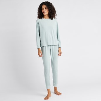Cozy Collection Textured Round Neck T-shirt and Pyjama Set