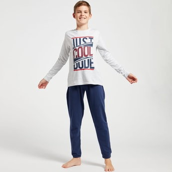 Cozy Collection Text Print Long Sleeves T-shirt and Jog Pants Set
