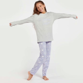 Cozy Collection Slogan Print T-shirt and Full Length Pyjama Set