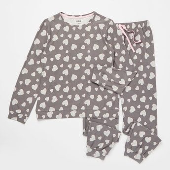 Cozy Collection Heart Print T-shirt and Full Length Pyjama Set