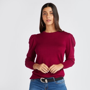 Swiss Dot Embroidered Round Neck Table Sweater with Long Sleeves