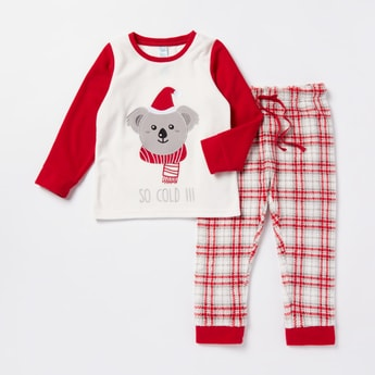 Koala Bear Applique T-shirt and Checked Joggers Set