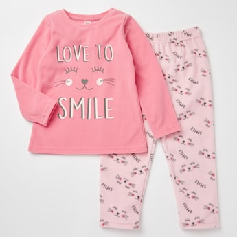 Cozy Collection Slogan Print Top and Full Length Pyjama Set