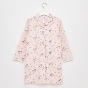 Cozy Collection Printed Sleep Shirt with Collar and Long Sleeves