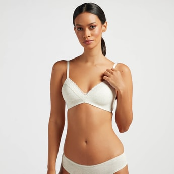 Lace Detail A-frame Bra with V-neck and Hook and Eye Closure