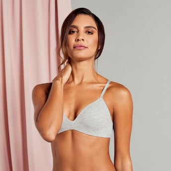 Textured A-frame Bra with V-neck and Hook and Eye Closure