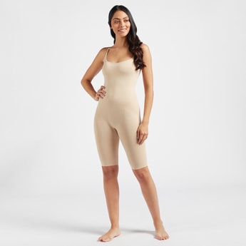 Solid Sleeveless Full Body Shaper with Scoop Neck