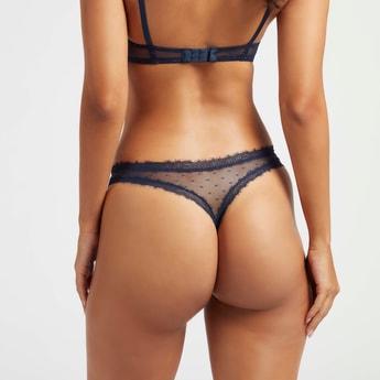 Floral Print Thong with Lace Detail and Elasticated Waistband