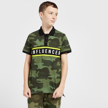 Camouflage Print Polo T-shirt with Short Sleeves and Panel Detail