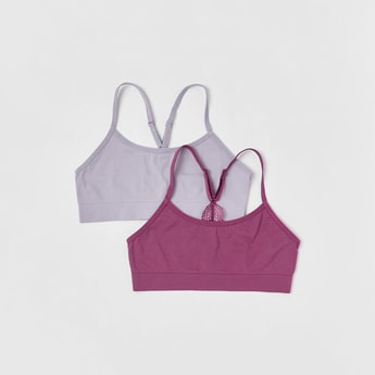 Set of 2 - Solid Bra with Adjustable Straps and Lace Detail