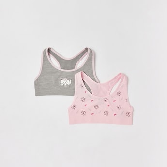 Set of 2 - Marie Print Sports Bra with Scoop Neck and Racerback