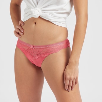 Lace Brazilian Briefs with Bow Accent