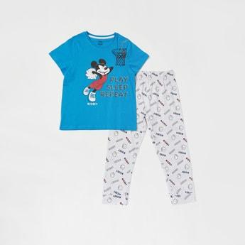 Set of 2 - Mickey Mouse Print T-shirt and Pyjama Set