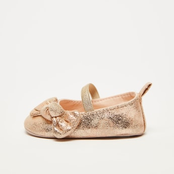 Glitter and Bow Detail Ballerina with Elasticised Strap