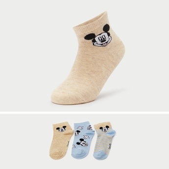 Set of 3 - Mickey Mouse Print Ankle Length Socks
