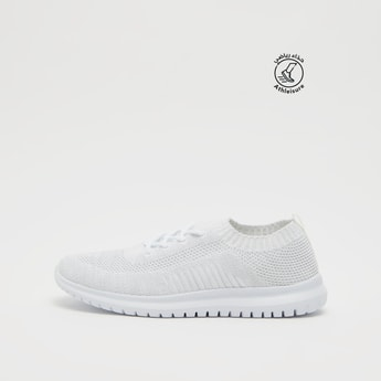 Textured Flyknit Lace-Up Sneakers with Pull Tab