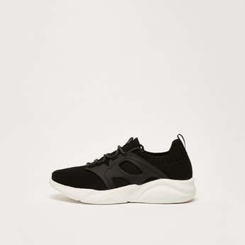 Textured Trainers with Lace-Up Closure
