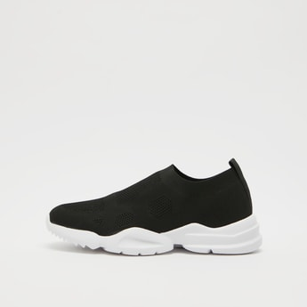 Textured Slip-On Sneakers with Pull Tabs