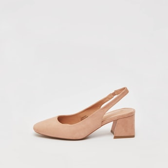 Solid Block Heel Sandals with Elastic Closure