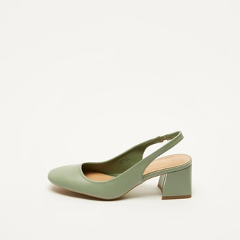 Solid Block Heels with Slingback