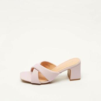 Solid Open-Toe Slip-On Sandals with Block Heels