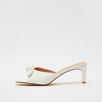 Open Toe Slip-On Sandals with Knotted Bow Applique