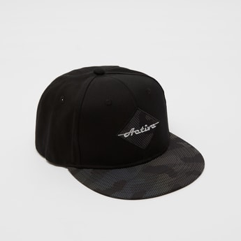 Camouflage Print and Embroidered Cap with Snap Back Closure