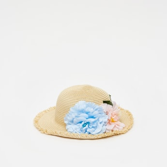 Textured Round Hat with Floral Appliques