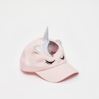 Sequined Cap with Unicorn Horn and Snap Button Closure