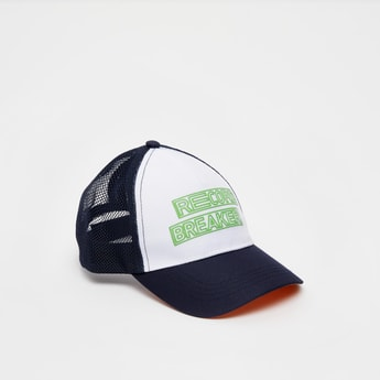 Mesh Detail Slogan Print Baseball Cap with Hook and Loop Closure