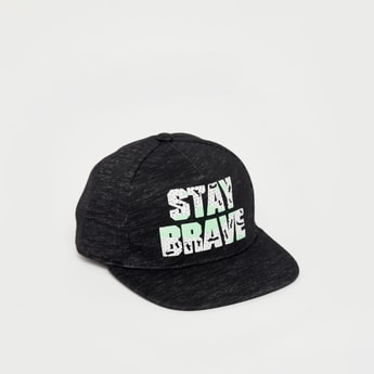 Slogan Print Baseball Cap with Hook and Loop Closure