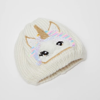 Unicorn Embroidered Beanie with Sequins