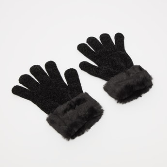 Textured Gloves with Faux Fur Embellished Hems
