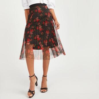 Floral Print Midi A-line Skirt with Elasticised Waistband