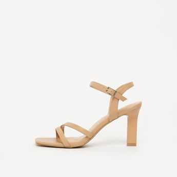Solid Open Toe Stiletto Heels with Buckle Closure
