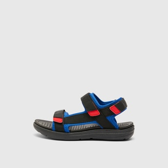 Textured Sandals with Hook and Loop Closure
