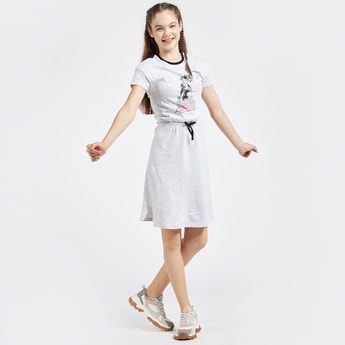 JoJo Siwa Print Round Neck Dress with Short Sleeves