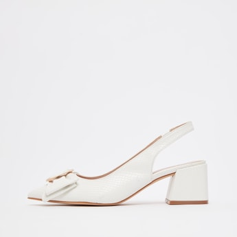 Bow Applique Detail Mules with Ankle Strap and Block Heels
