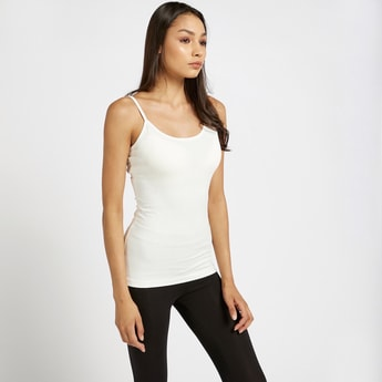 Solid Camisole with Scoop Neck